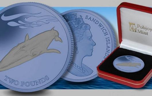 En Islas Georgias y Sandwich del Sur, emiten monedas de titanio de colores