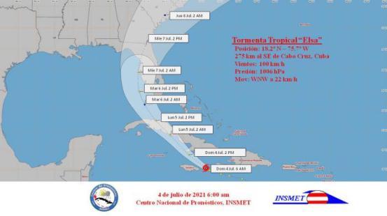 En Cuba, el huracán Elsa se desplazará muy próxima a Granma